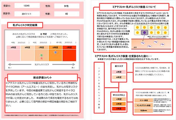 早期発見・発症リスク検査 マイクロRNA解析のリスク検査 ミアテスト®-乳がんリスク検査-の報告書